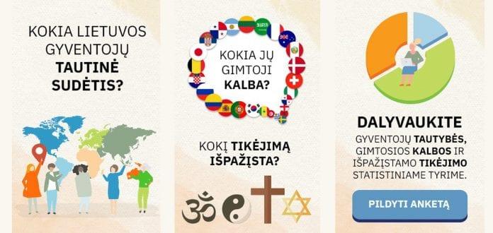 Apklausa apie gyventojų tautybę, gimtąją kalbą ir kitų kalbų (be gimtosios) mokėjimą bei išpažįstamą tikėjimą.
