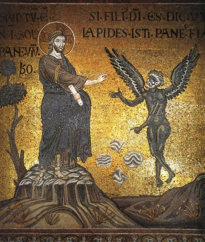 Kristaus gundymas mozaikoje