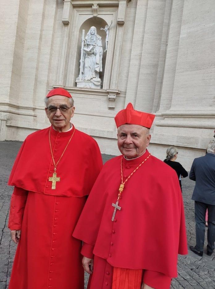 Kardinolai Sigitas Tamkevičius (dešinėje) ir Audrys Juozas Bačkis pozuoja