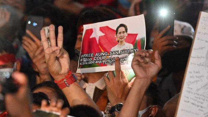 Mianmaro protestuotojai