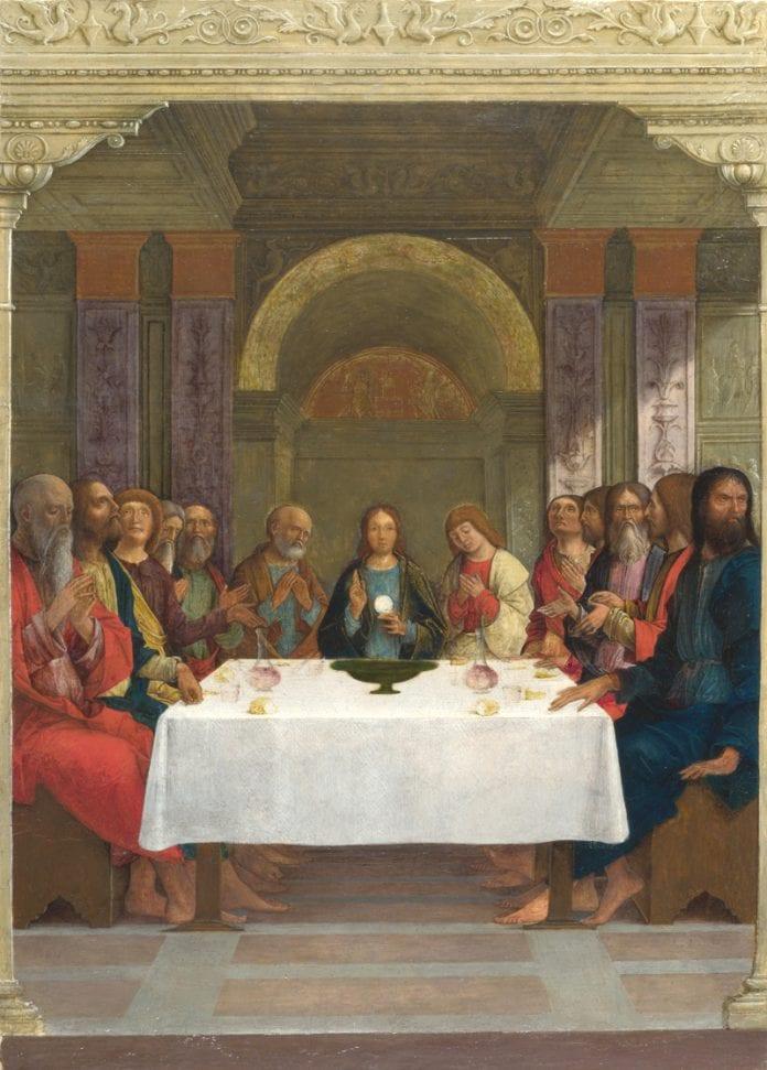 Jėzus su mokiniais prie stalo
