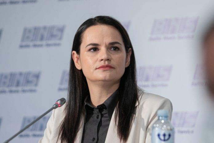 Baltarusijos opozicijos lyderė Sviatlana Cichanouskaja spaudos konferencijoje