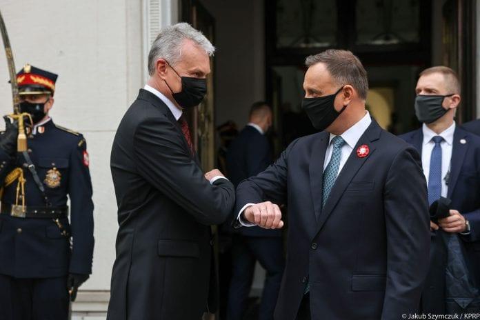 Lenkijos prezidentas Andrzejus Duda su Lietuvos prezidentu Gitanu Nausėda