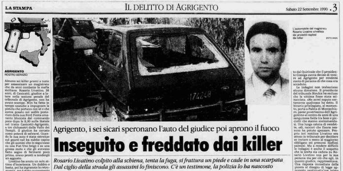 Naujiena iš laikraščio apie nužudytą teisėją Rosario Livatino