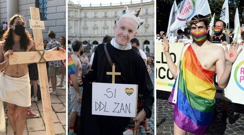 """Italijoje vykusių """"Pride"""" paradų metu netrūko patyčių iš krikščionybės"""