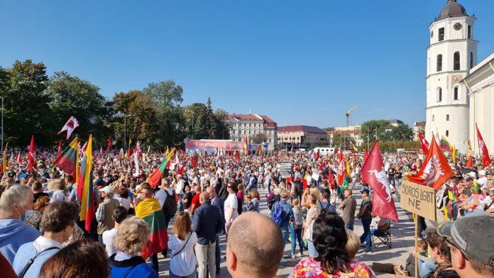 Lietuvos šeimų sąjūdžio mitingas šalia arkikatedros / Laikmetis.lt nuotr.